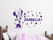 adesive de parede Custom Name Wall Decal Personalized Baby Girls Name Decor Vinyl Decal Stickers Mouse Wall Sticker Decor A536(China)