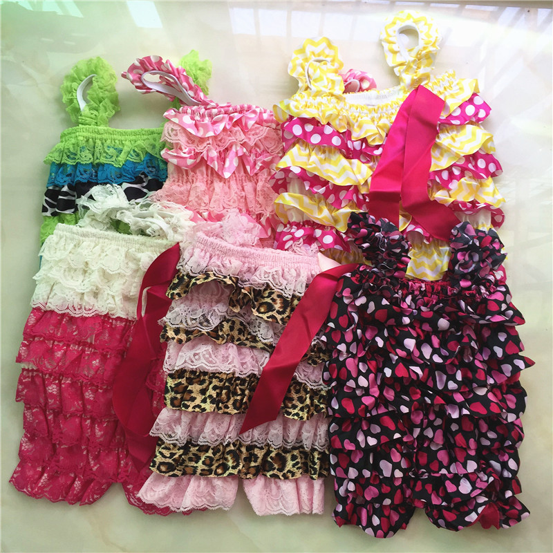Clearance Baby Lace Romper Newborn Baby Satin Lace Petti Ruffle Rompers Birthday Outfit Cheap Price Baby Clothes(China (Mainland))