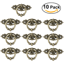 10pcs Vintage Kitchen Cabinet Cupboard Dresser Door Drawer Ring Pull Handles Knobs (Antique Brass)