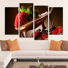 Drop Shipping Painting Calligraphy Canvas Painting Wall Decor Pictures for Living Room Decoration Strawberry Love Chocolate 4pcs