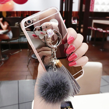 For Sumsung S4 S5 S6 S7 edge Plus Note 4 5 Luxury Fur ball Tassels Mirror cover Bear finger ring Soft Phone case handmade(China)