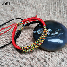 JOYROX Vintage Red Black Multi Color Adjustable Tibetan Style Buddhist Handmade Knots Lucky Rope Bracelet Jewelry For Couple(China)