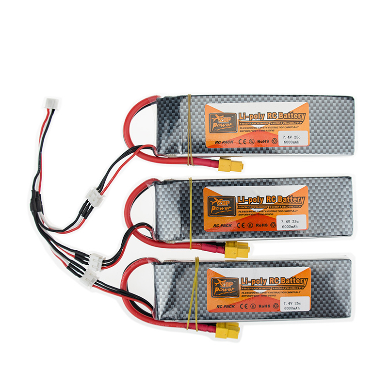 2S lipo battery 7.4v 6000mAh 30C XT60 T For rc helicopter rc car boat quadcopter Li-Polymer battey 3pcs with charger set