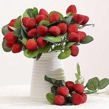 Beautiful High-end Imitation Strawberry Branch Artificial Bridal Bouquet Party Wedding Home Decor drawing room(China)