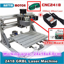 2418 GRBL Control Mini CNC Engraving Machine Laser Machine Milling Wood Router 2500mw Laser(China)