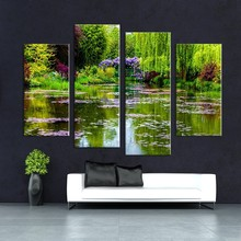 4pcs claude monets garten Wall painting print on canvas for home decor ideas paints on wall pictures F /1343