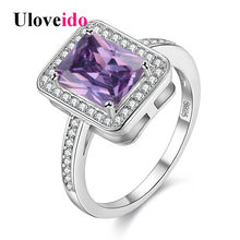(Ship from US) 15% off Unusual Party Square Pinky Rings Zircon Gifts for Women Anillos Cristal Gift Christmas Bague Femme 2019 Size 6-7 Y3250