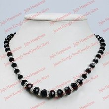 Fashion Black Crystal Glass Faceted Beads Necklace With Magnetic Clasp 45cm one piece 199(China)