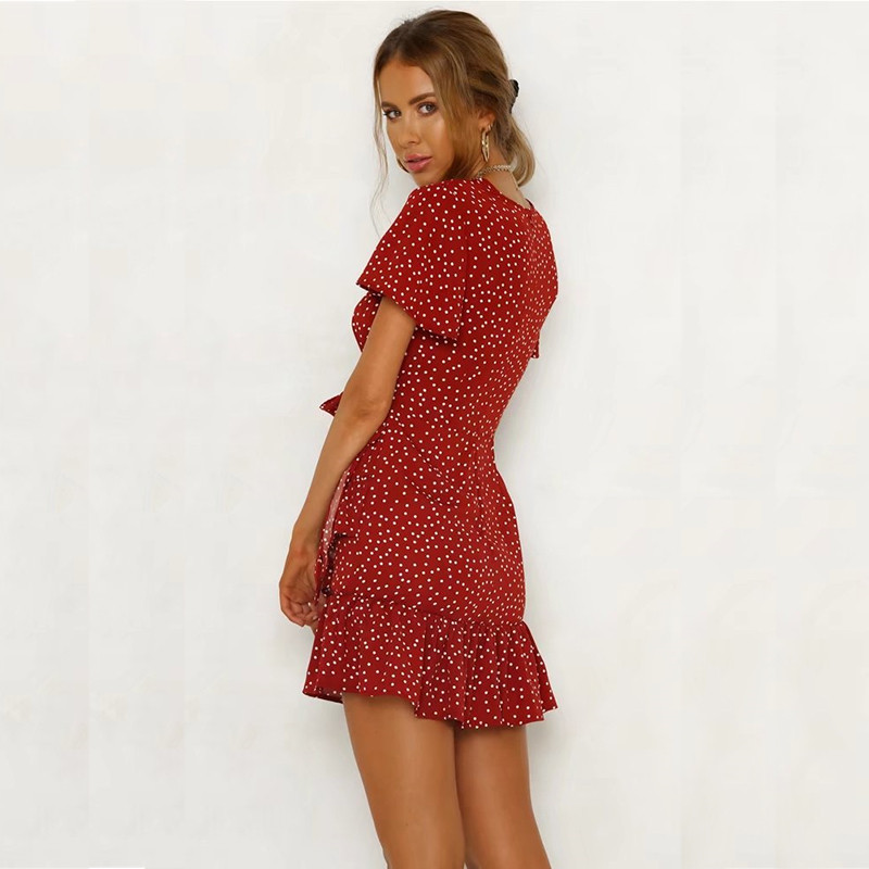 yinlinhe Red Polka Dot Dress Women V neck Summer Dress Cross Lace Up Slim Sexy Mini Vintage Ruffles Bodycon Vestido  3