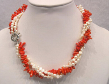 Hot sell Noble- FREE SHIPPING>>3 Rows Genuine White Pearl Red Coral White Clasp Necklace(China)