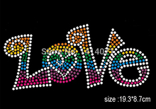 30PCS/LOT Colorful LOVE Letter Hotfix rhinestones transfers iron on motif Strass crystal for dress Wholesale