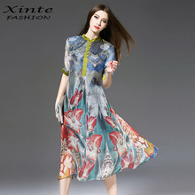 2018 100% Real Silk Long Dress Women Spring Vintage Print Loose Dresses Top Quality Half Sleeves Europe and America(China)