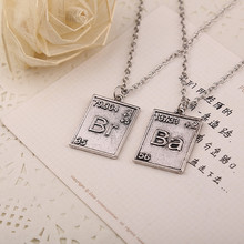 1 set Breaking Bad  Necklace Jewelry Best Friends Necklace For 2 Chemical Symbol Br Ba Pendant Boys Couple Necklace Gift