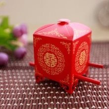 free shipping 100pcs/lot chinese style Sedan chair shape wedding candy boxes gifts boxes color red wedding supplies decoration(China)