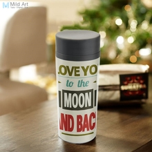 Plastic Insulated Modern Vintage Retro Minimalist Typography Love Moon Quotes Water Bottle 300ml Gifts BPA Free Personalized(China)