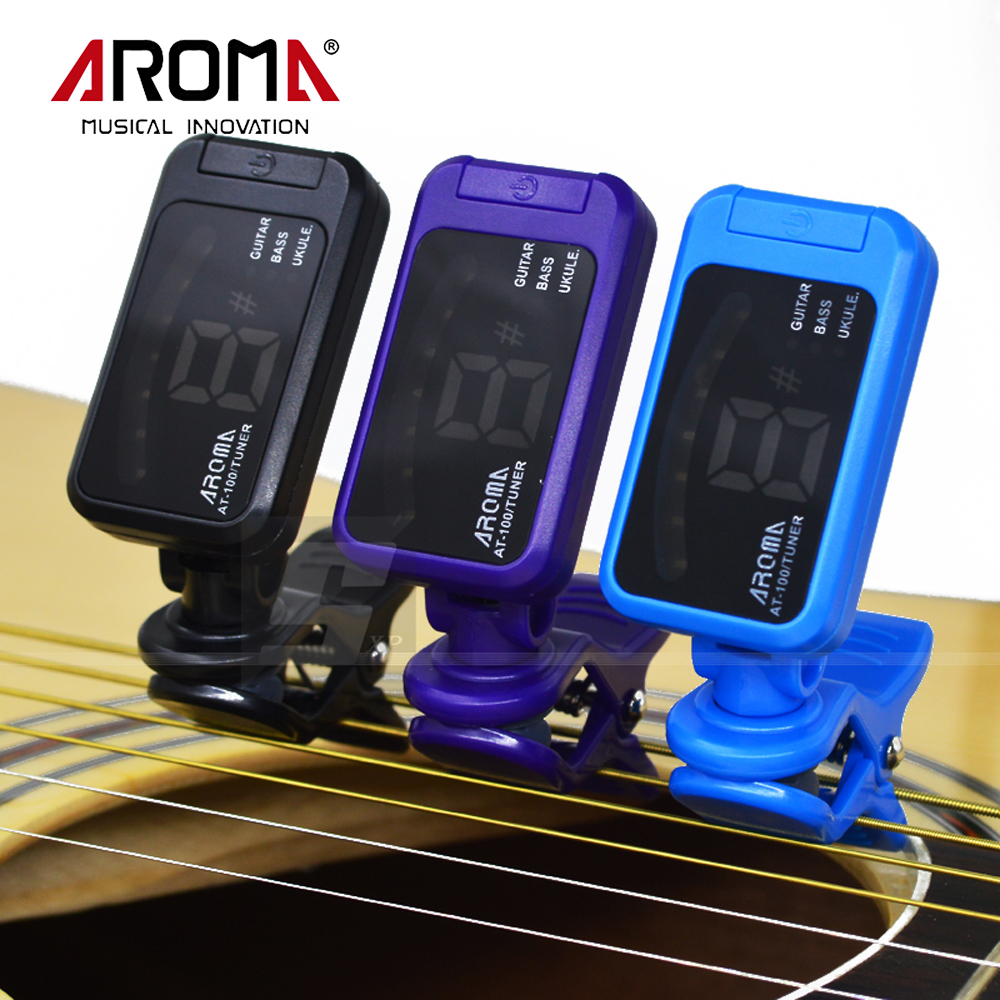 New Arrival Universal Portable Black Clip-On LED Guitar Bass Ukulele Digital Tuner Aroma AT-100(China (Mainland))