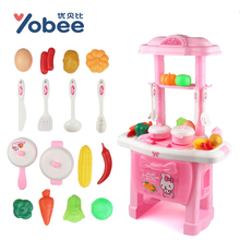 Yobee Children Puzzle Kitchen Toys Set Plastic Simulation Fruit And Vegetable Cognition Kitchen Pretend Play Cartoon Gift Toys(China)