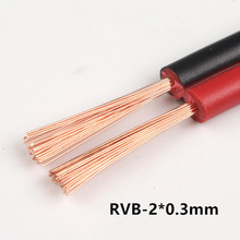 RVB-2*0.3mm Square Copper Red with Black color cable parallel to the outer wire LED Speaker Cable Electronic Monitor power Cord