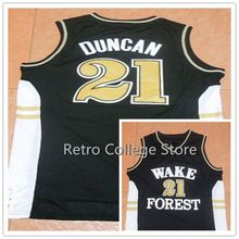 #21 Tim Duncan Wake Forest College Basketball Jersey Retro throwback stitched embroidery Customize any size and name(China)
