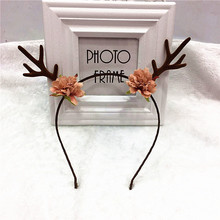 Buy Flower Crown Deer Antler Hairband Headband Christmas Party Costume Hair Accessories Women Girls Children Christmas Gifts for $2.36 in AliExpress store