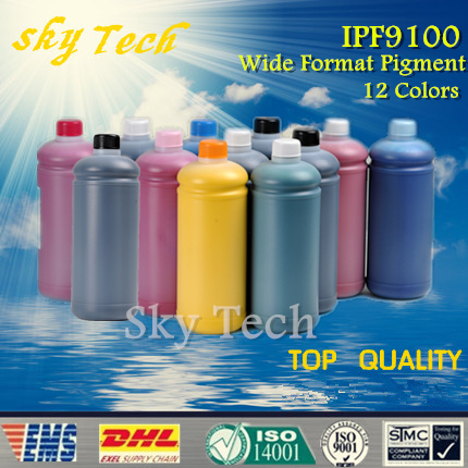 12 pcs High Quality Wide format Pigment Ink for Canon  IPF9100 , BK C M Y MBK PC PM Gy PGY Red Blue Green , 1L per color<br><br>Aliexpress