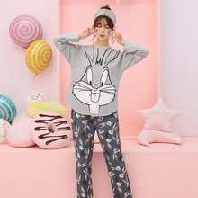 Spring Pajamas Sets Women Starling rabbit Sleepwear girls night Homewear For Women M,L,XL,XXL Casual Tracksuit Free Shipping