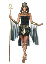 2016 Halloween Clothes Women Sleeveless Arab Queen Of Egypt Cleopatra Black Cosplay Costume Ladies Sexy Fancy Dress Clothes