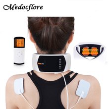 Wireless Remote Control Neck Massager Far Infrared Heat Therapy For Neck Massage Neck Pillow Pain Relief Machine Health Care(China)