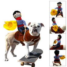 Halloween Cowboy Dog Cat Costume Clothes For Small Medium Dogs Novelty Funny Pet Party Cosplay Apparel Dog Riders Clothing S M L