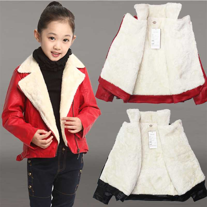 2017 Fashion infant leather jackets/Autumn Spring Boys Girls PU Leather Jackets Children 3-14T Clothing Kids Warm Coat Outerwear<br>