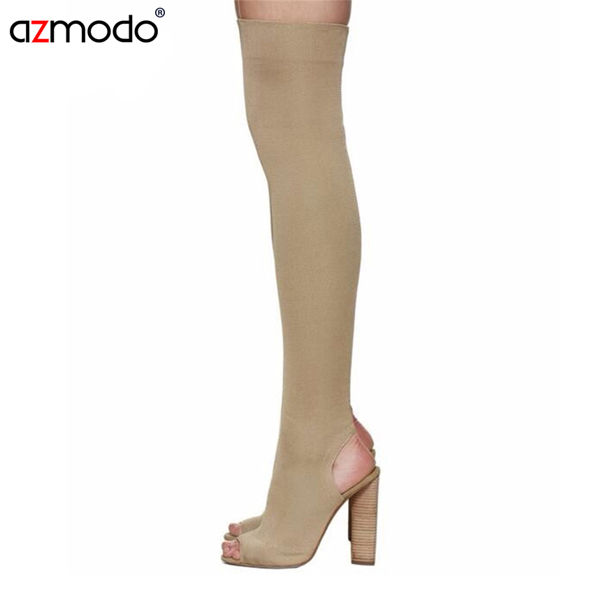 Women Shoes Over The Knee Boots Sexy Thigh High Boots women thigh high boots high heel boots peep toe <br>