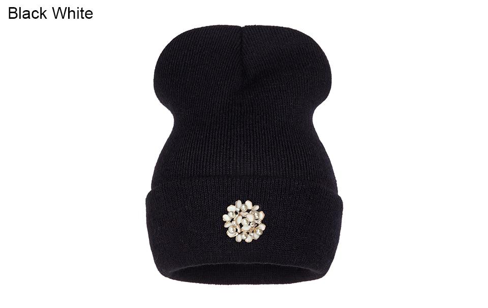 Ralferty Winter Hats For Women Flower Beanies Skullies Female bonnet femme gorros cappelli Cap Beanie gorra Black Acrylic Hat 7