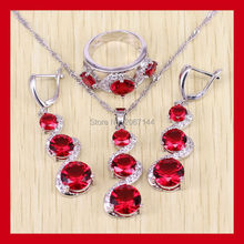 Silver color Red created Garnet Jewelry Sets For Women White Zircon AAA Zircon Rings/Pendant/Earrings/Necklace