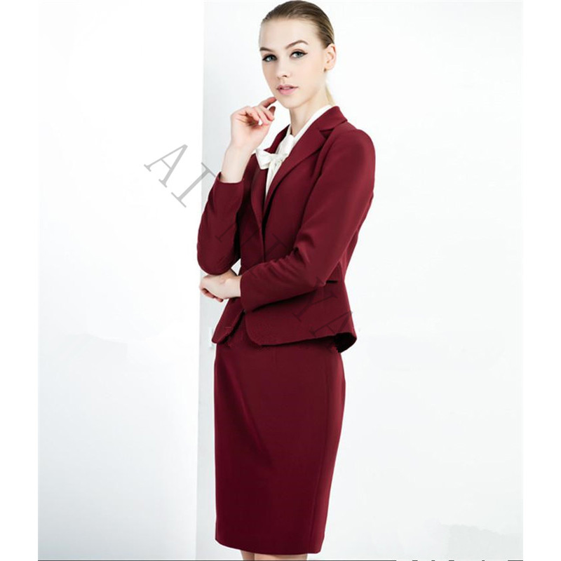 Wine Red Skirt Suit Bust skirt + suit 2 Piece Suits High Quality Formal OL Work Wear Business Elegant Bust skirt suit Uniform