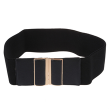 Black Faux Leather Elastic Cinch Belt Waist Band Ornament for Woman(China)