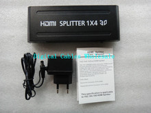 New Arrival High Quality 1080P 4 Way HD HUB 1x4 HDMI 3D Splitter Amplifier Switcher Power Supply For HDTV