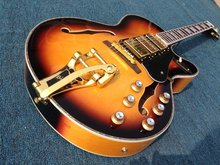Switchmaster electric guitar  archtop electric guitar bigsby bridge 3 humbuckers pickups  big input.gold hardware