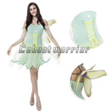 Tinkerbell princess cosplay costume Tinkerbell fancy green dress for adult women with wing Free shipping(China)