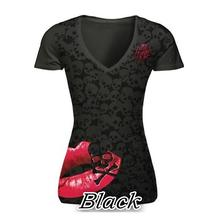 Summer T-Shirt Skull Print Causal Women Short Sleeve V-Neck Punk Style Tee Tops Fashion T Shirt Plus Size Women S-5XL LJ8593C