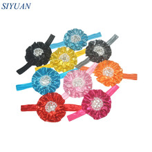 16pcs/lot Stretchy Ribbon Headband with Metallic Fabric Flower Faux Pearl Centered Girl Photograph Props HB008