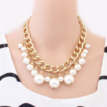 The European and American fashion high-end beauty temperament atmospheric waterdrop imitation pearl necklace