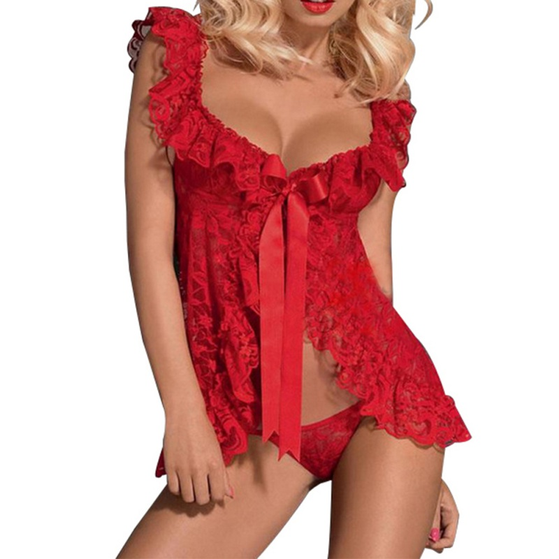 Women Sexy Lingerie Front Open Sleepwear Sets Plus Size Europe and America style sexy lace perspective dress + T pants 4