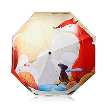 Umbrella Fashion Waterproof Windproof Protect Gift Fox 3 Folding UV Rain Proof
