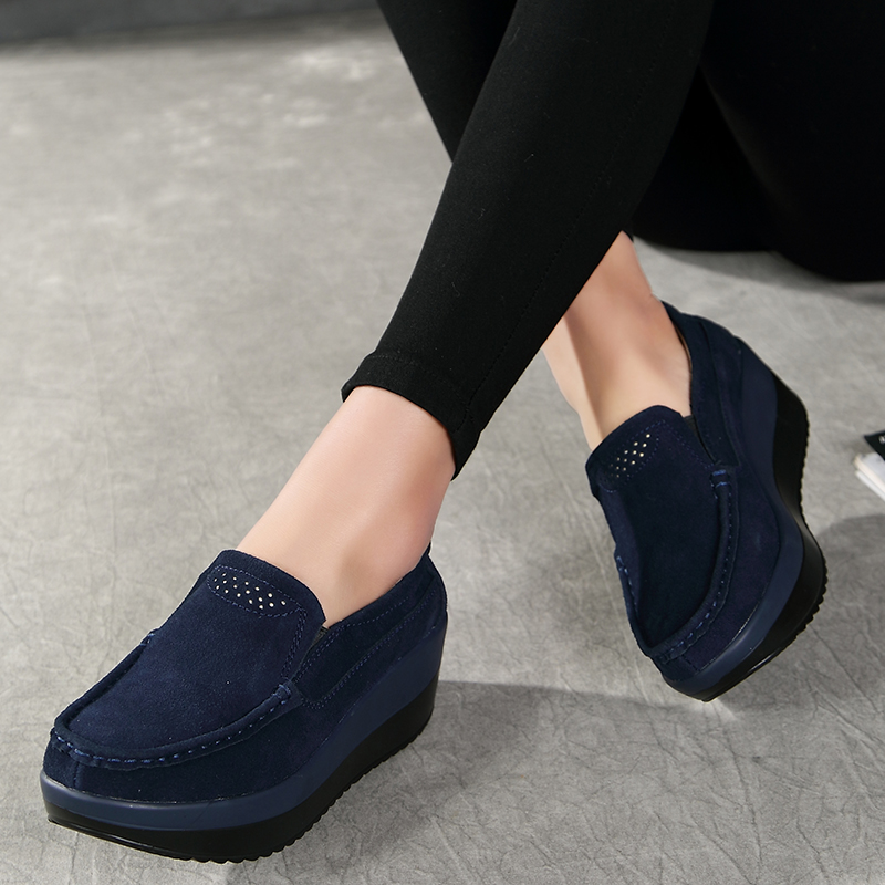 Spring Women Flats Shoes Platform Women Sneakers Slip On Ladies Flats Leather elegant Shoes Mocassin Loafers Creepers 2019 New(China)
