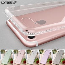 Roybens Luxury Bling Rhinestone Clear Soft TPU Case For Apple iPhone 7 7S Transparent Silicone Cover For iPhone7 Diamond Capa(China)