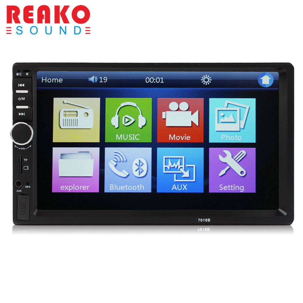 "REAKOSOUND Vehicle Audio DVD Player 7018B 2DIN car Bluetooth Audio 7"" HD Radio Dash Touch Screen MP3 MP5 Player Support USB"