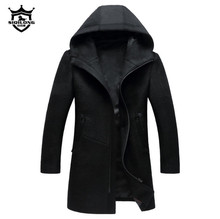 Autumn Winter British style men's wool coat New design Zipper Long trench coat Brand Clothing Top quality hooded woolen coat men(China)