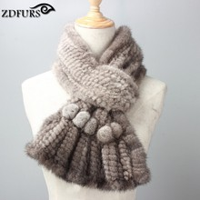 ZDFURS * Wholesale Fashion  New Deign Knitted Natural Mink Fur Scarf   Real Mink Fur Ring For Women New Winter Fur Scarves Shawl