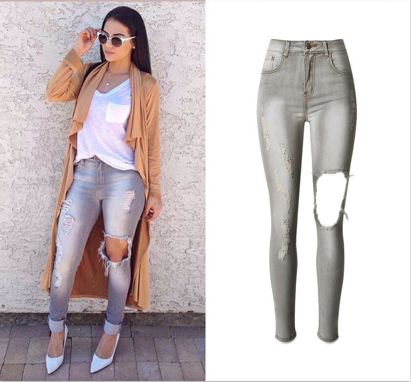 Women New Fashion Jeans Scratched Ripped Hole Elastic Skinny High Waist Gray Color Denim Pencil Sexy Slim Butt Push Up JeansОдежда и ак�е��уары<br><br><br>Aliexpress