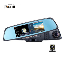 "EMAID6.86""Touch RAM 1GB ROM 16GB 2 Split View Android  Touch GPS Navigation Mirror Car DVR dual lens camera rear parking dvrs"